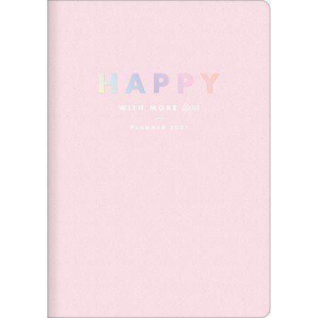 Planner Mensal Brochura Flexível Happy Rosa Pastel