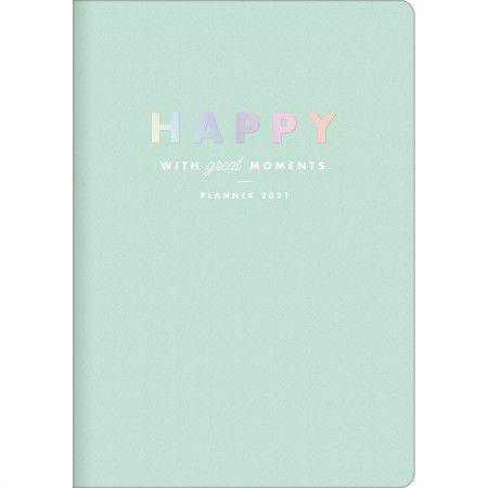 Planner Mensal Brochura Flexível Happy Verde Pastel