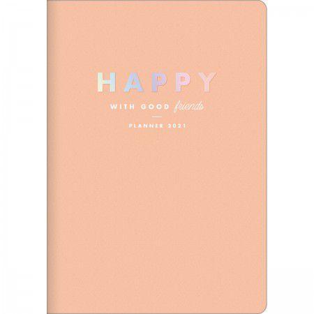 Planner Mensal Brochura Flexível Happy Salmão