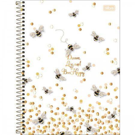 Caderno Universitário Abelha Dream, Live and Bee Happy 160 Folhas