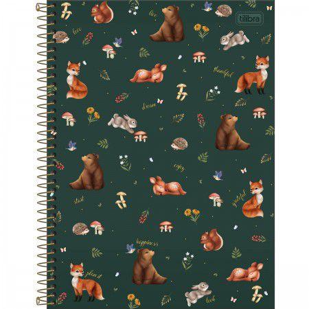 Caderno Animais da Floresta Verde 80 Folhas