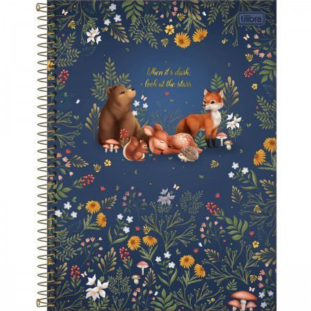 Caderno Universitário Animais da Floresta Azul 80 Folhas