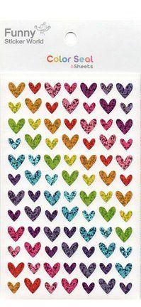 Adesivos Corações Brilhantes 6 folhas