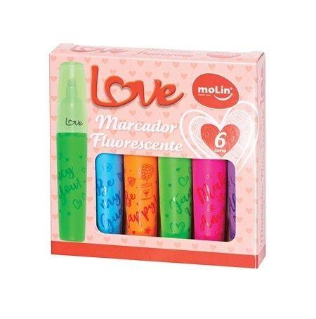 Marcador Fluorescente 6 Cores Love