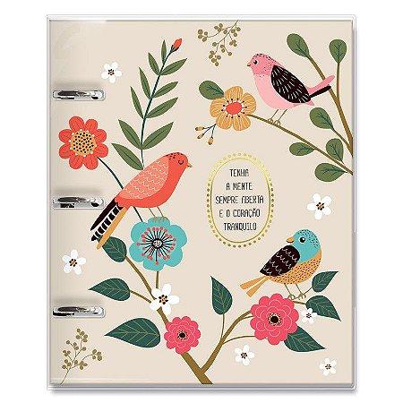 Caderno Fichário 3 Furos Pássaros