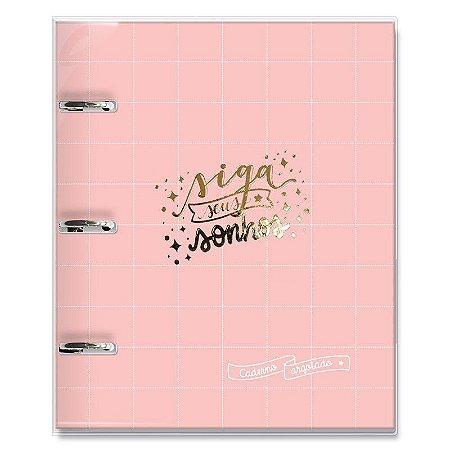 Caderno Fichário 3 Furos Sonhos Rosa Quadriculado