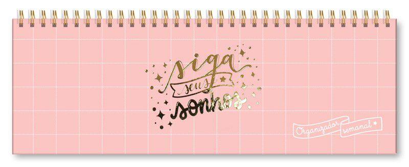 Planner Semanal Sonhos Rosa Quadriculado