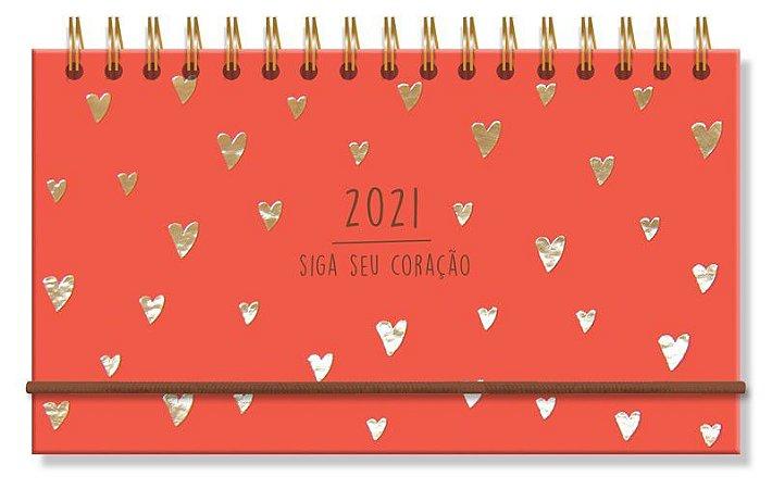 Agenda 2021 Corações Vermelho Mini Semanal
