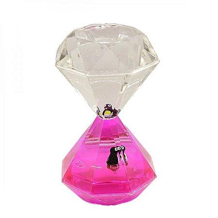 Ampulheta Decorativa Rosa Pinguim