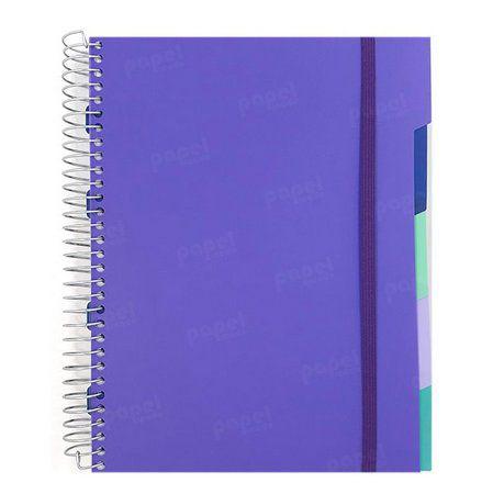Caderno Universitário Flexível 192 Folhas Roxo com divisórias
