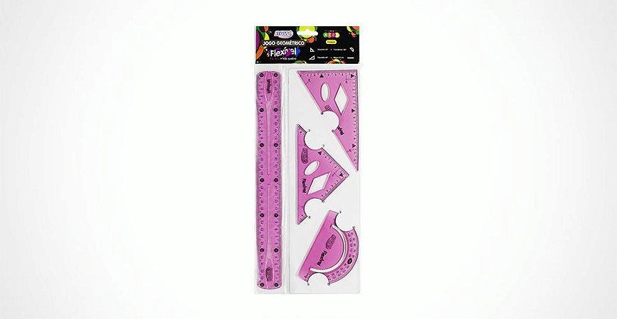 Jogo Geométrico Flexível Rosa Neon