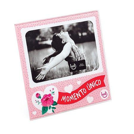 Porta Retrato Rosa e Coração Momento Único