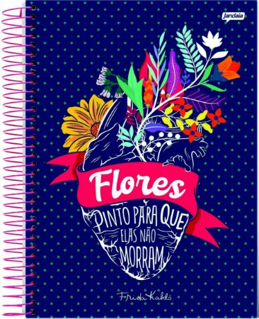Caderno Espiral 10 Matérias Médio Frida Kahlo Flores