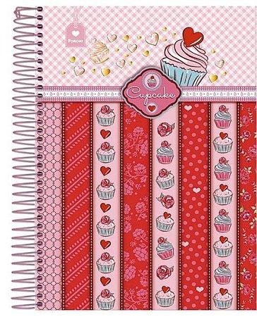 Caderno Cupcake Listras 96 Folhas