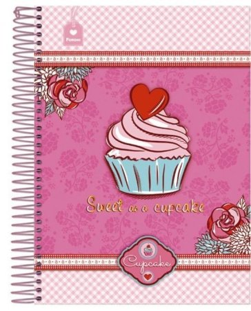 Caderno Cupcake Pink 96 Folhas