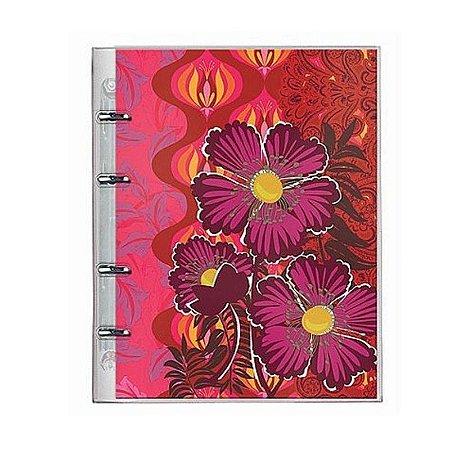 Caderno Fichário PVC Botanical Vermelho