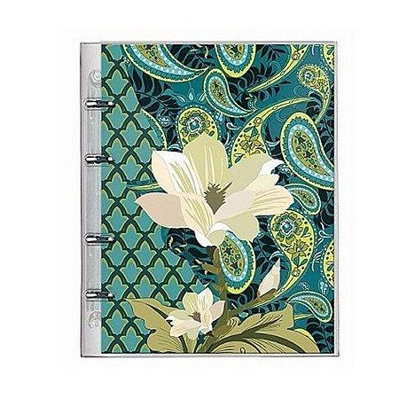 Caderno Fichário PVC Botanical Verde Escuro