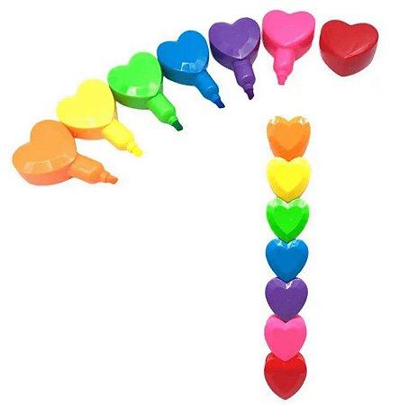 Conjunto Marca Texto 6 Cores Corações