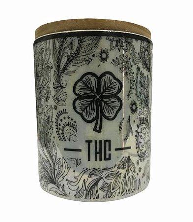 Pote Hermético de Porcelana THC Mandala Branca (M)
