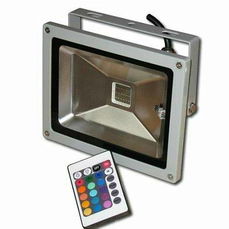 REFLETOR HOLOFOTE LED 30W RGB COLORIDO C/ CONTROLE