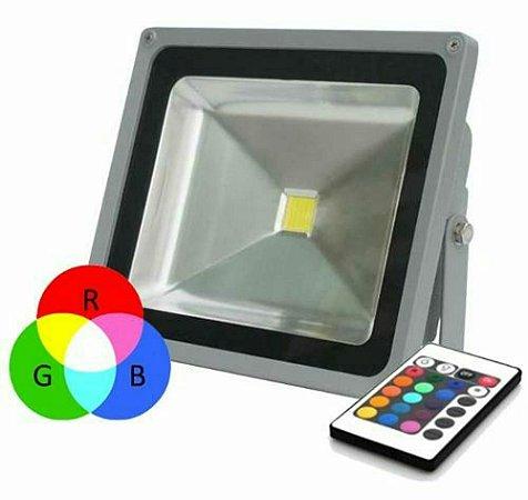 REFLETOR HOLOFOTE LED 50W RGB COLORIDO C/ CONTROLE
