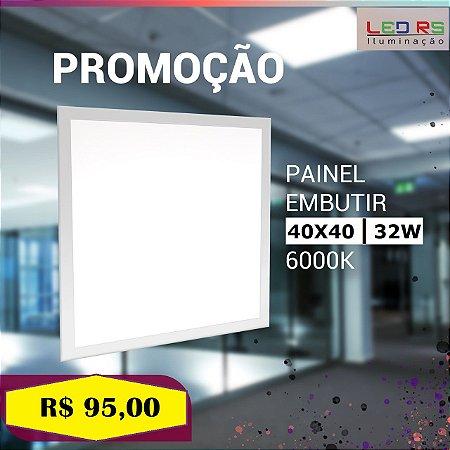 LUMINÁRIA PAINEL 32W LED QUADRADO EMBUTIR BRANCO FRIO - 400 MM X 400 MM
