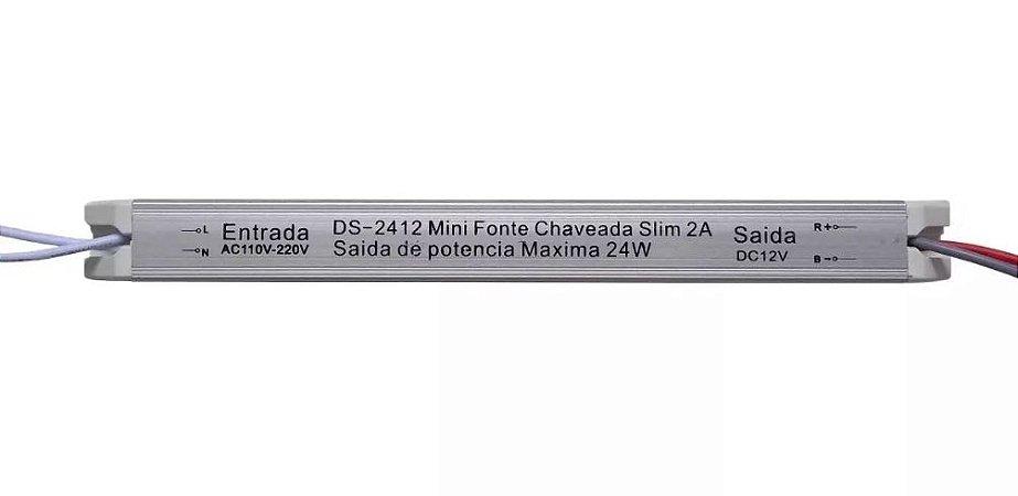 FONTE DE ALIMENTAÇÃO FITA LED SLIM 12V - 2A - 24W PARA MOVEIS