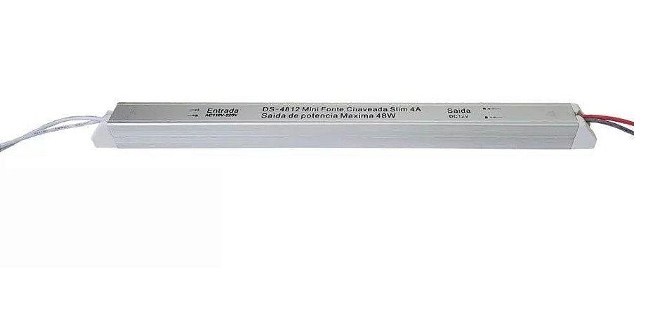 FONTE DE ALIMENTAÇÃO FITA LED SLIM 12V - 4A - 48W PARA MOVEIS