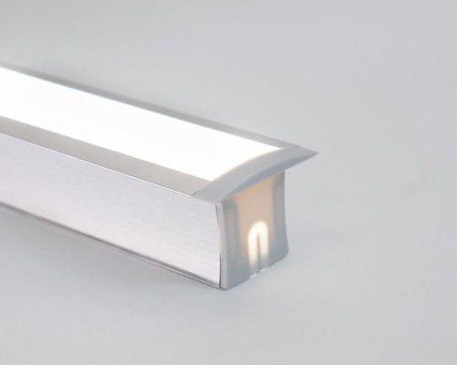 Perfil alumínio de embutir duo difusor leitoso para LED