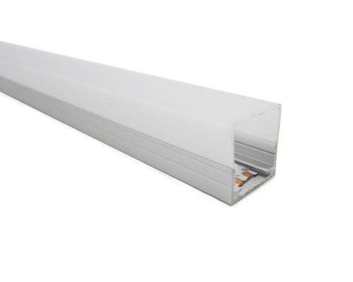 Perfil alumínio de sobrepor square difusor leitoso para LED