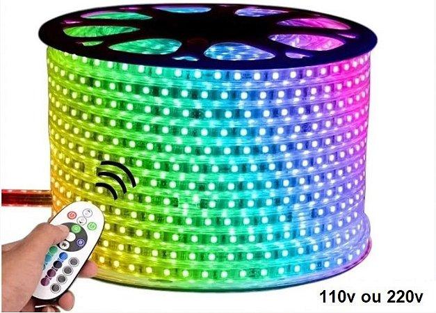 MANGUEIRA LED CHATA 5050 RGB 16 CORES