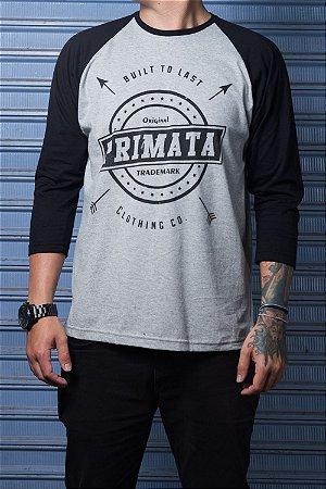 """Camiseta Raglan """"Built to Last"""" Mescla com Preto"""