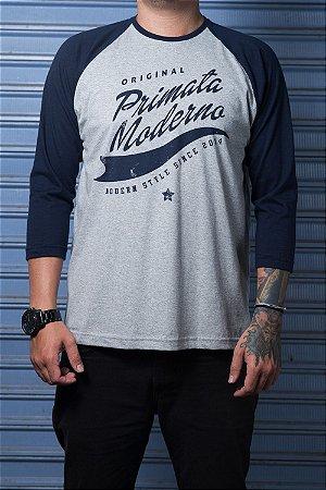 """Camiseta Raglan """"Original"""" Mescla com Azul"""