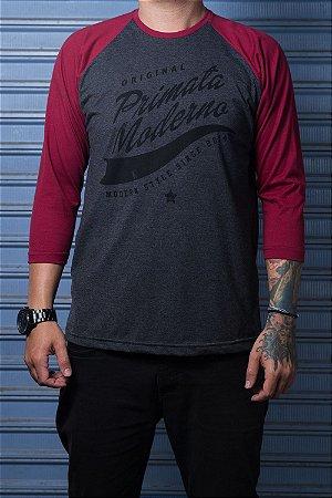 """Camiseta Raglan """"Original"""" Grafite com Bordo"""