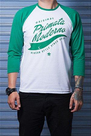 "Camiseta Raglan ""Original"" Branco com Verde"