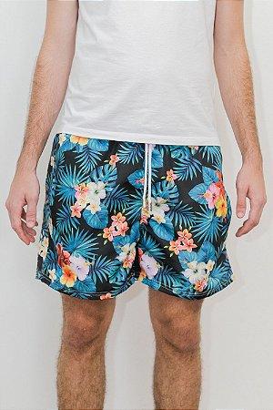 Shorts de Verão Floral Dark