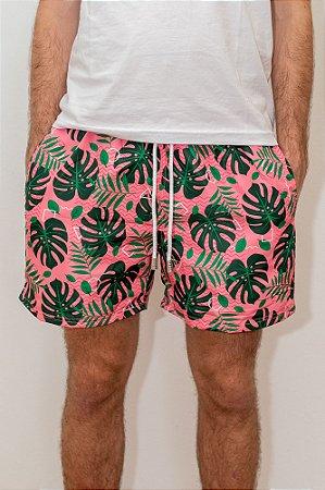 Shorts de Verão Tropical Pink