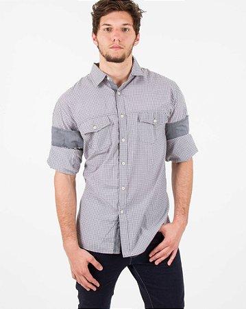 Camisa Social Xadrez Preto com Branco