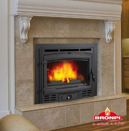 Lareira a Lenha Recuperador de calor em ferro fundido e ventiladores - Bronpi - CANADA Rustico