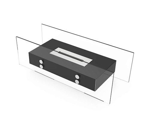 Lareira Mobile preto Artfire - modelo Vision 2 com queimador BIO40.