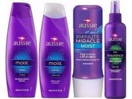 Kit Aussie Moist Shampoo + Condicionador + Máscara 3 Minute + Leaving Aussie Hair Insurance
