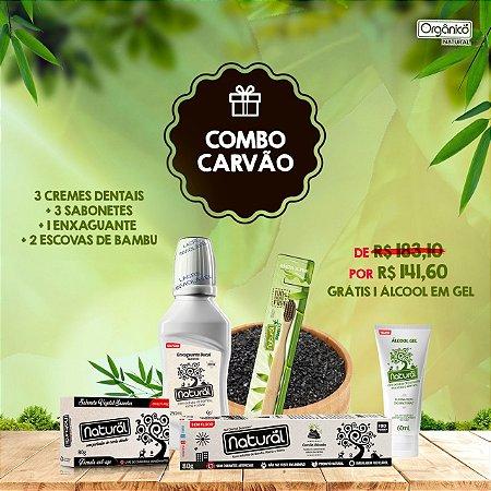 COMBO CARVÃO: 3 Cremes Dentais Carvão + 3 Sabonetes Carvão + 1 Enxaguante Detox + 2 Escovas de bambu. GRÁTIS: 1 ÁLCOOL EM GEL