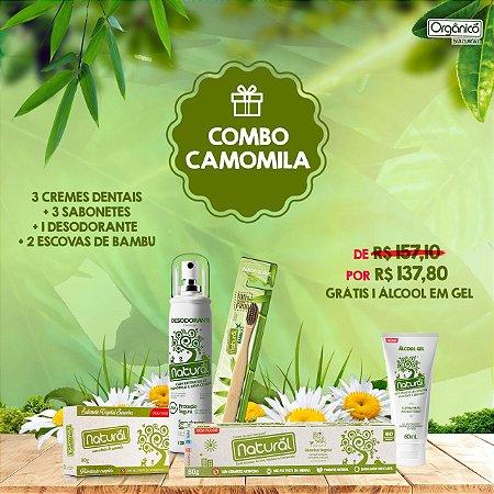 COMBO CAMOMILA: 3 Cremes Dentais Camomila + 3 Sabonetes Camomila + 1 Desodorante Camomila + 2 Escovas de Bambu. GRÁTIS: 1 ÁLCOOL EM GEL