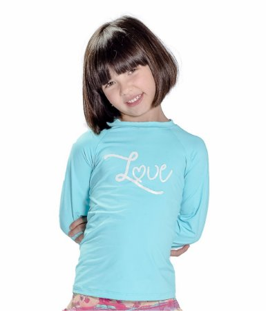 Blusa UV Feminina Verde Água/Love