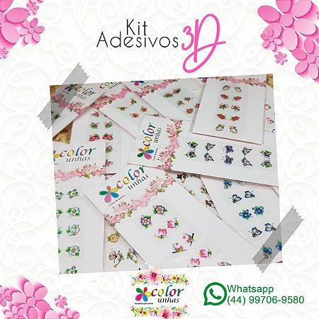 Kit Adesivos 3D c/30 cartelas variadas