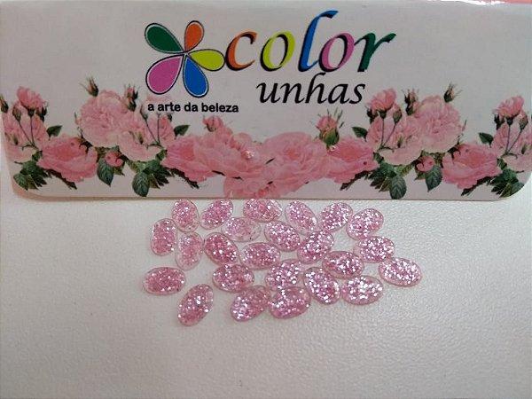 Pcte Oval Glitter Rosa 24un