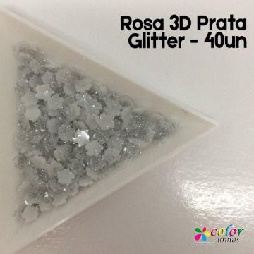 Rosa 3D - Prata glitter