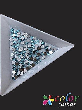 Coração Acrílico 3MM - Azul Claro 60 Unidades