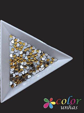 Coração Acrílico 3MM - Dourado 60 Unidades