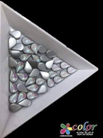 Gota da Lua Siliconada 5,7MM - Branco AB 20 Unidades